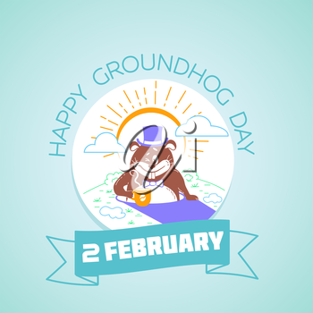 Calendar for each day on February 2. Greeting card. Holiday - happy groundhog day. Icon in the linear style