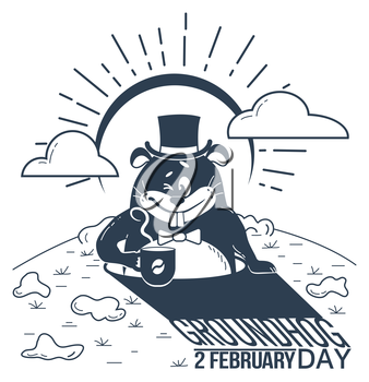 black and white illustration. Holiday - happy groundhog day. Icon in the linear style. Retro