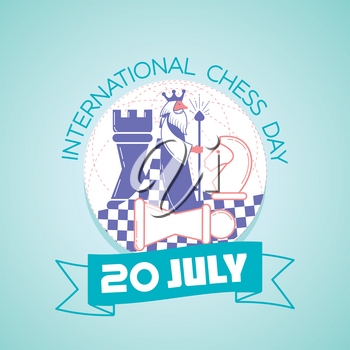 Calendar for each day on july20. Greeting card. Holiday -   International Chess Day. Icon in the linear style