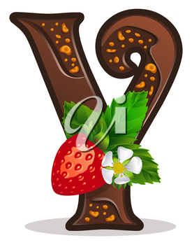 Cards for children for learning the alphabet. Letter y as chocolate, in the form of candies and cakes . Vector Illustration