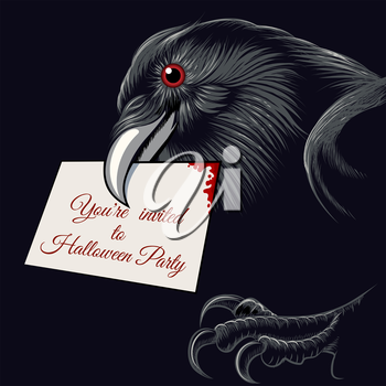 The raven with invitation card to Halloween Party in a beak. Free font used.