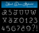 Hand draw alphabet. Letters from r to z and numbers. Isolated on black background.