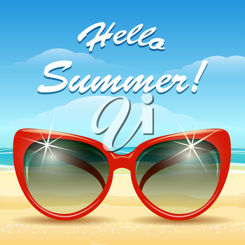 Summer holiday background. Sun glassess on a sand and lettering Hello Summer. Only free font used.