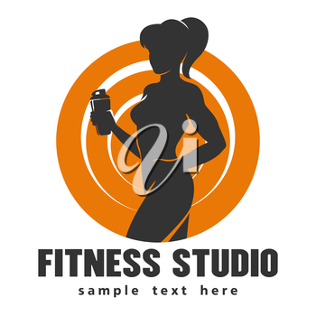 Hot sexy athletic girl bodybuilder holds shaker and sample text below over white background. Emblem of fitness or gym center