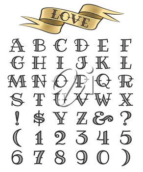 Set of tattoo style letters and numbers, alphabeth for your tattoo design.