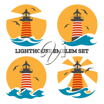 Colorful Lighthouse emblem set with ocean waves and seagulls. Vector illustration