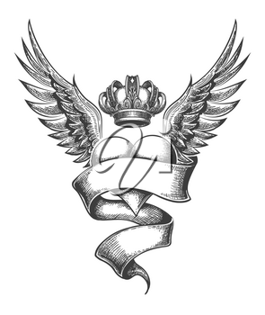 Heart with Crown, Ribbon and Wings Tattoo Drawn in Engraving Style.