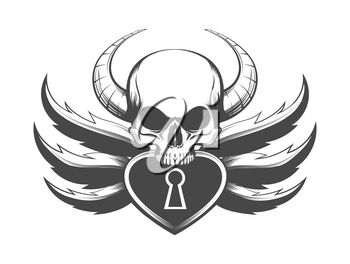 Tattoo of Skull with Horns and Padlock. Vector Illustration