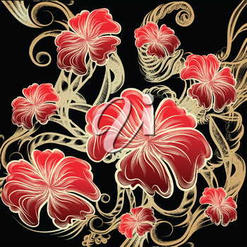 Illustration with blossoming red flowers against abstract golden swirls on dark background drawn in vintage ink style