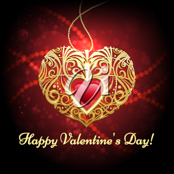 Illustration of heart shaped golden pendant against festive red background
