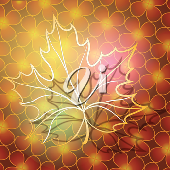 Abstract illustration of maple leaf made of gold against floral background  as metaphore of autumn
