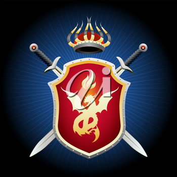 Coat of Arms with crown swords and shield. Golden shield with fiery dragon emblem. Vector illustration.