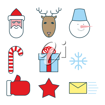 Christmas icons set. Flat  line icons for new year. Santa Claus and reindeer. Snowman and snowflake.