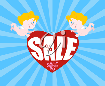 Big sale on Valentines day. Cupid and big heart. Discounts at gala Feb. 14. Hilarious Cupid holds love.