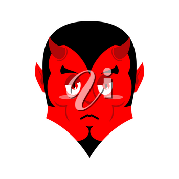 Sad Satan. Sorrowful red devil. Pessimistic demon. Pitiful face. Mournful miserable devil with horns. Mephistopheles prince of darkness and underworld. Religious and mythological character, supreme sp