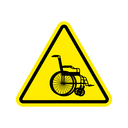 Warning invalid Sign. caution wheelchair on road. Danger way symbol yellow Triangle
