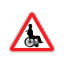 Warning invalid. Sign caution wheelchair on road. Danger way symbol red Triangle