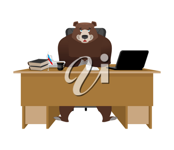 Businessman from Russia. Bear sitting in an office. Russian big boss at table. National folk chief. Beast leader. Workplace supervisor. Director desktop. Laptop and phone. Cup of coffee and Chair
