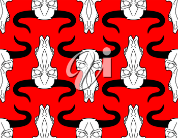 Skull cow pattern. head of skeleton bull background. Death of an farm animal texture. Remains cattle ornament