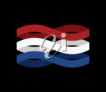 Netherlands Flag ribbon isolated. Dutch tape symbol national tape. State country sign. Vector illustration
