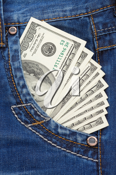 dollars in jeans pocket background