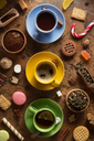 cup of coffee, tea and cacao at abstract background