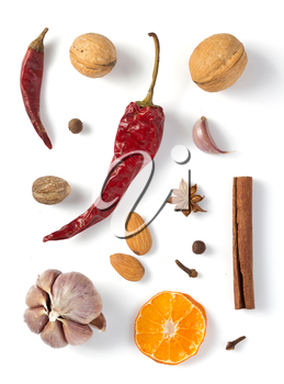 spices isolated on white background