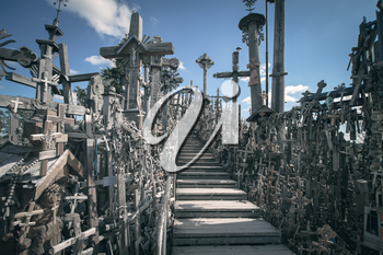The Hill of Crosses , a famous site of pilgrimage in northern Lithuania.