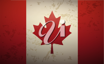 Flag Canada isolated on grunge background vector