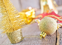 Christmas decoration on the wooden table, christmas background