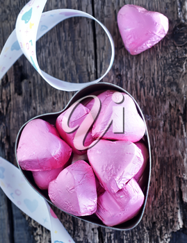 chocolate hearts, chocolate candy in the foil
