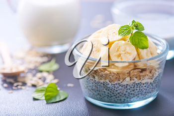milk with chia seeds and fresh banana