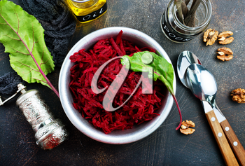 salad with boiled beet and aroma oil, diet food