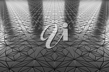 Abstract industrial creative metal construction monochrome illustration: decorative steel flooring metal surface with ornament perspective view under bright lights, industrial 3d illustration