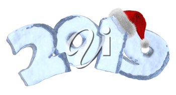 Happy New Year sign 2019 text written with numbers made of clear blue ice with Santa Claus fluffy red hat, winter icy symbol 3d illustration isolated on white