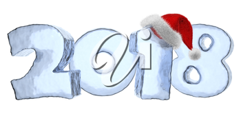 2018 new year sign text written with numbers made of blue ice with Santa Claus fluffy red hat, New Year 2018 winter icy symbol 3d illustration isolated on white