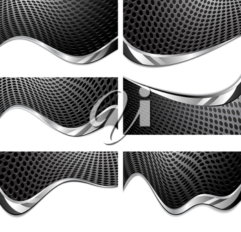Metal texture perforated. Black and white background with chrome wave