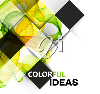 Vector Abstract  green curved lines background. Brochure design