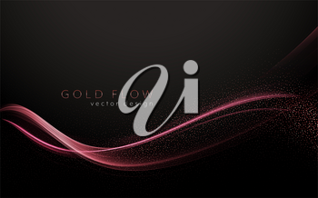 Abstract shiny color rose gold wave design element on dark background. Fashion motion flow design for voucher, website and advertising design. Golden silk ribbon for cosmetic gift voucher