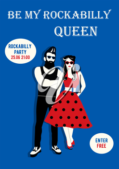 Royalty Free Clipart Image of a Be My Rockabilly Queen Flyer