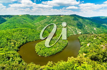 Meander of Queuille on the Sioule river in the Puy-de-Dome department of France