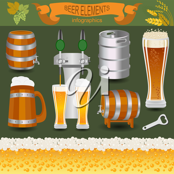 Beer infographics, set elements, for creating your own infographics. Vector illustration
