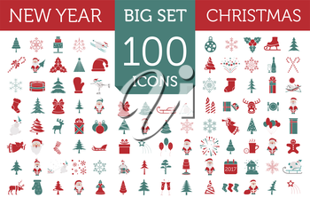 Christmas, New Year holidays icon big set. Red and green colours. Flat style collection. Vector illustration