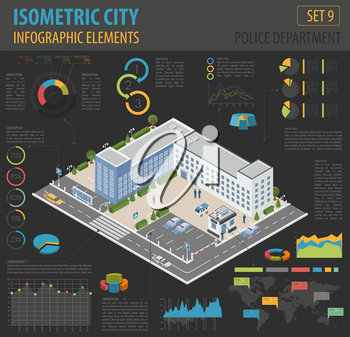 Flat 3d isometric Police Department and city map constructor elements such as building, police officer, car, parking isolated on white. Build your own infographic collection. Vector illustration