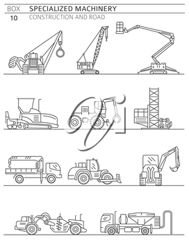 Special industrial construction and road machine linear vector icon set isolated on white. Illustration