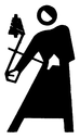 Royalty Free Clipart Image of a Man Ringing a Bell