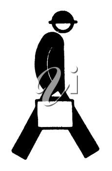 Royalty Free Clipart Image of a Man Carrying a Bag