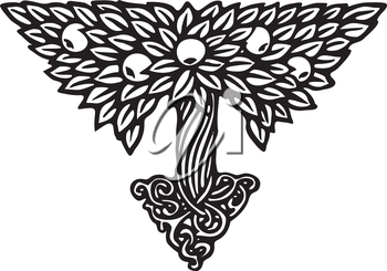 Royalty Free Clipart Image of a Decorative Tree