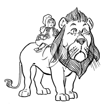 Royalty Free Clipart Image of a Girl Riding a Lion