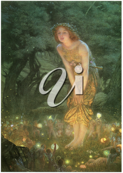 Royalty Free Clipart Image of Midsummer Eve by Edward Robert Hughes